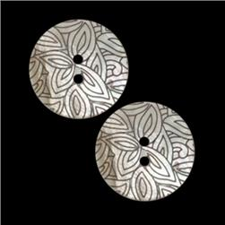 Genuine Shell Button 7/8'' Foliage Natural/Black