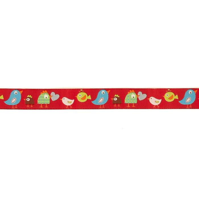 "7/8"" Dena Designs Happi Birds Ribbon Red"