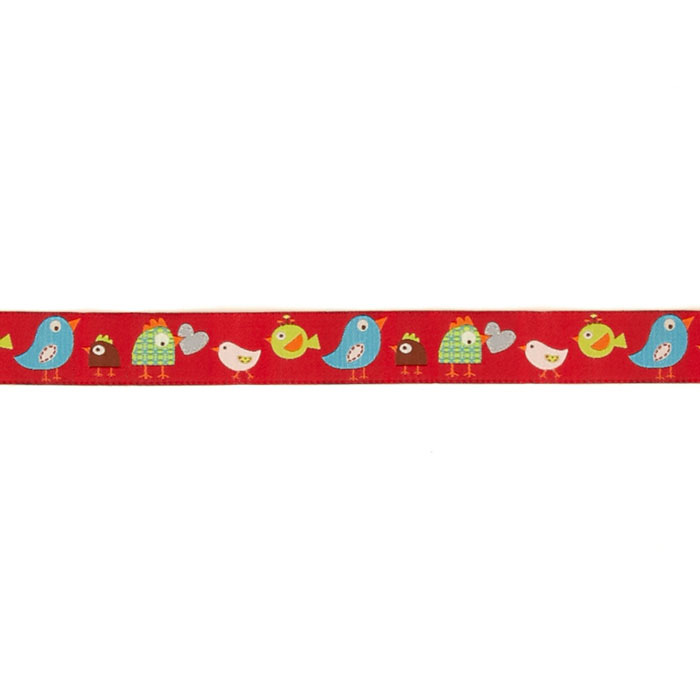 7/8'' Dena Designs Happi Birds Ribbon Red