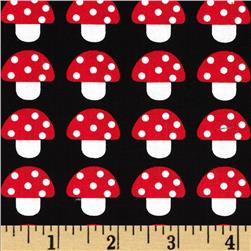 Woodland Pals Mushroom Party Black Fabric