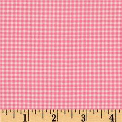 Michael Miller Flannel Tiny Gingham Pink Fabric