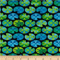 Kanvas Leap Frog Leaping Lily Pads Black Fabric