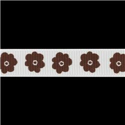 Riley Blake 5/8'' Grosgrain Ribbon Flower Brown