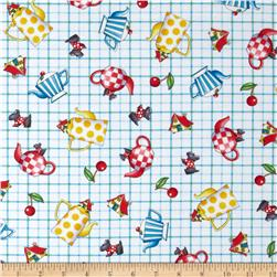 Tea Time Tossed Teapots Plaid Multi