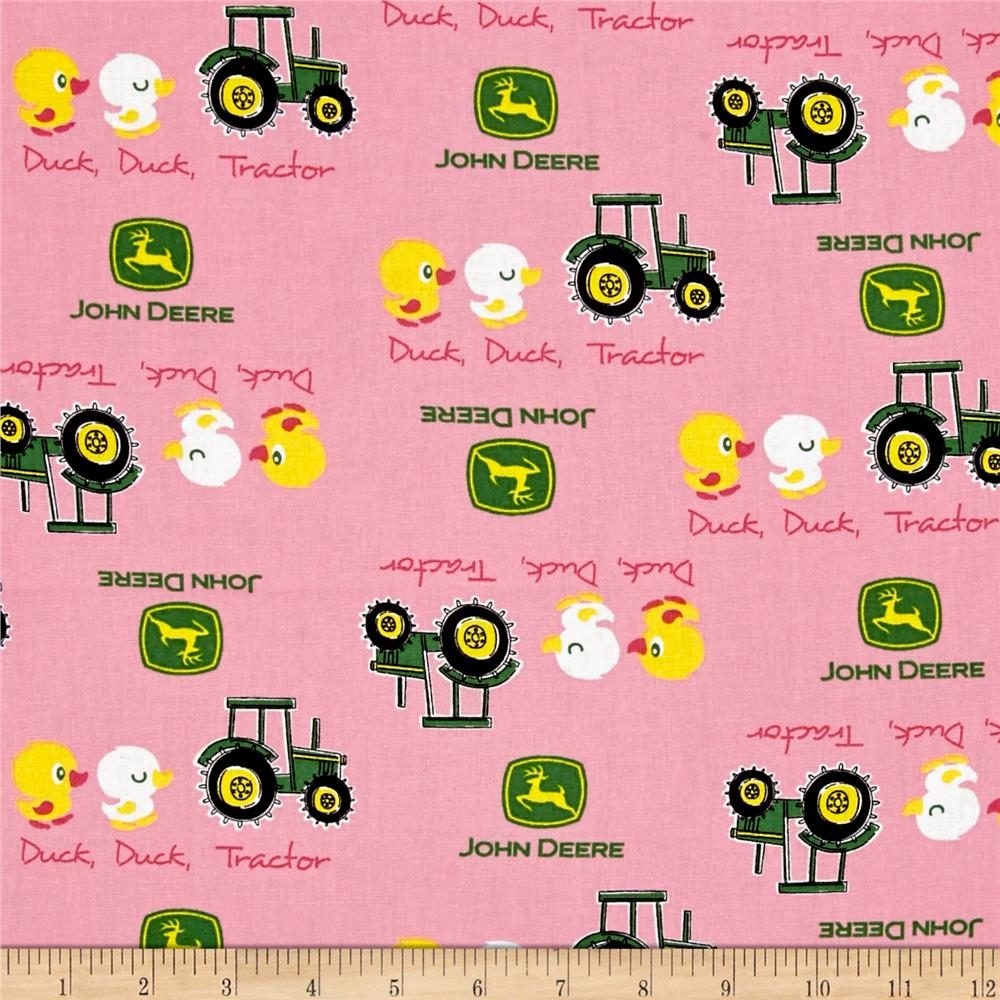 John deere nursery duck duck tractor pink discount for Nursery fabric sale