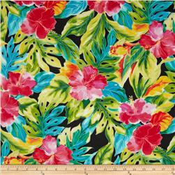 Splash of Color Tropical Leaves Black