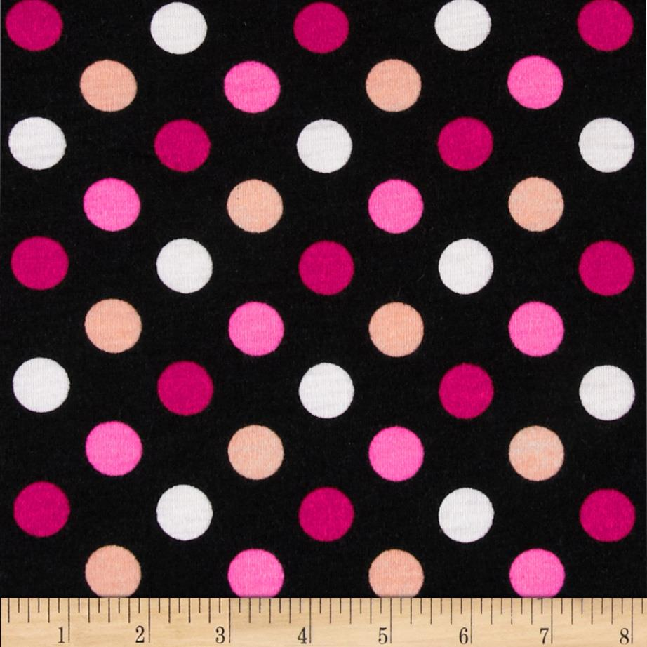 Stretch Jersey Knit Polka Dots Pink/Black/White