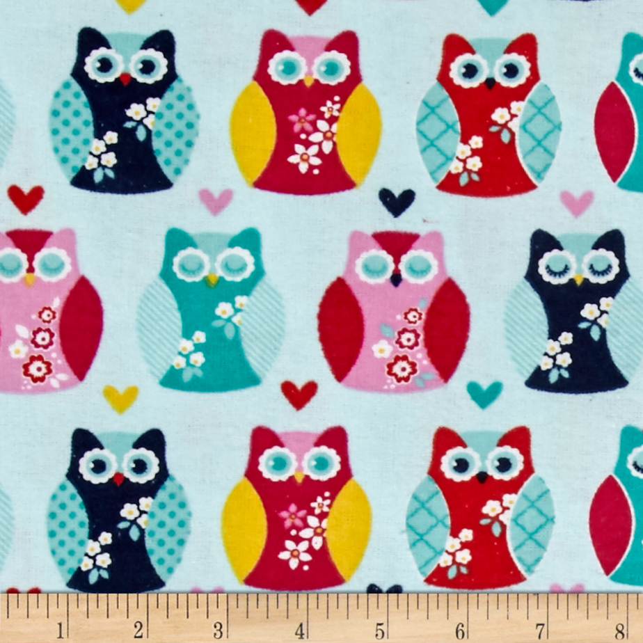 Alpine Flannel Owls And Hearts Aqua Fabric by Christensen in USA