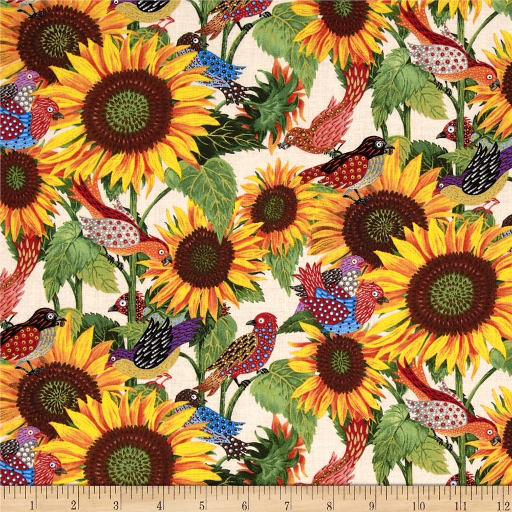 Los Cabos Allover Sunflowers & Birds Cream