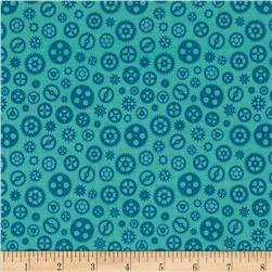 Riley Blake Fun & Games Gears Aqua