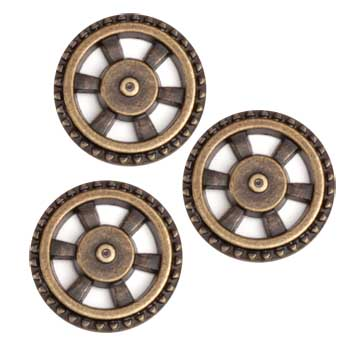 Metal Button 5/8'' Wheel Antique Brass