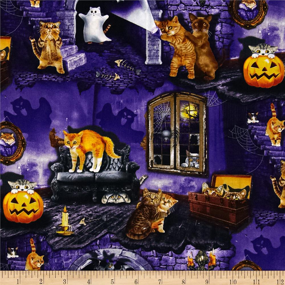 Timeless Treasures Halloween Haunted House Cats Purple