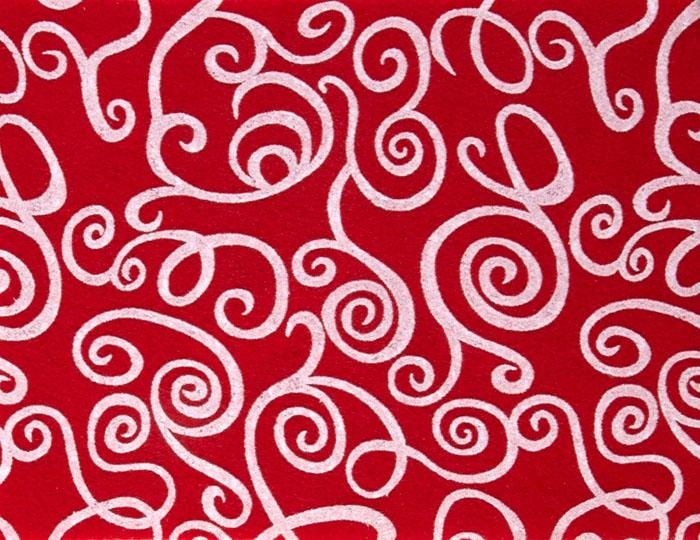 "Fanci Felt 9 x 12"" Craft Cut White Swirl Red"