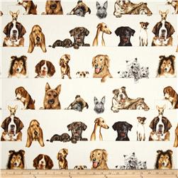 Curious Canines Dog Stripe Natural Fabric