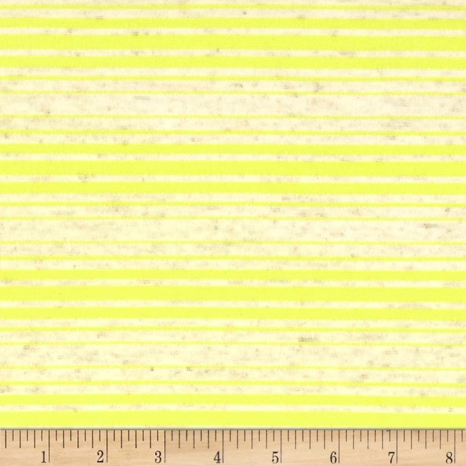 Sheer Yarn-Dyed Striped Jersey Knit Oat/Yellow Fabric